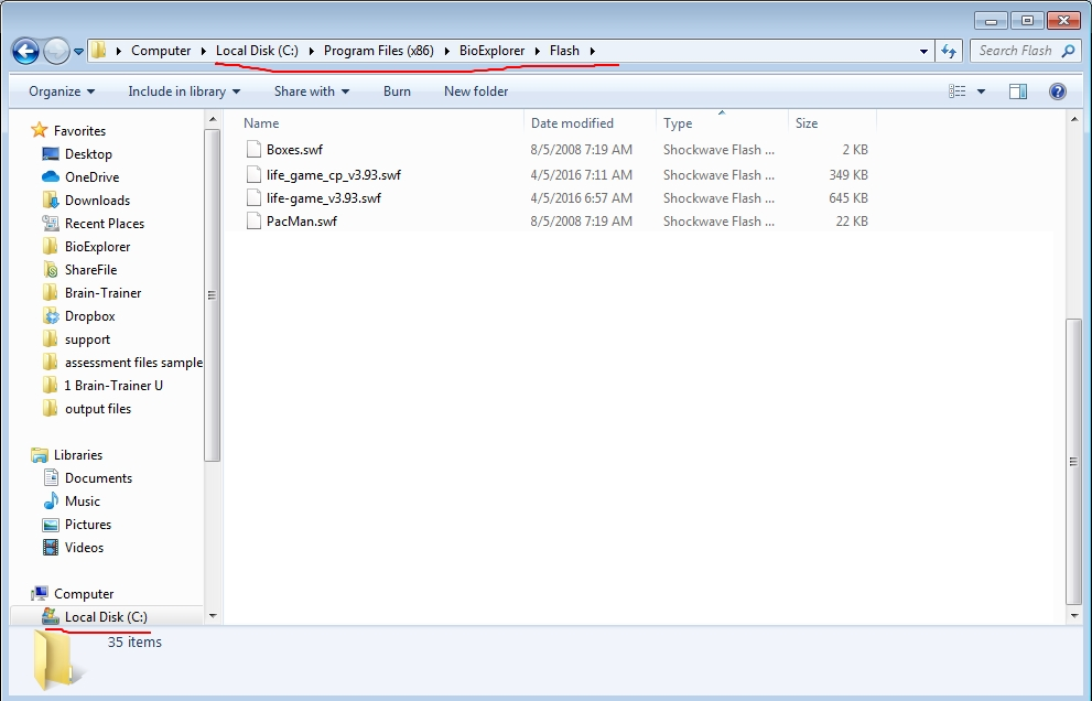 Flash folder