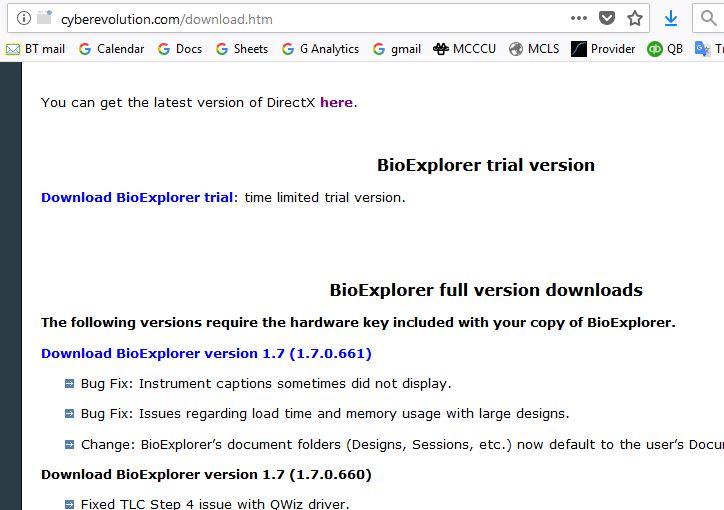 bioexplorer download page