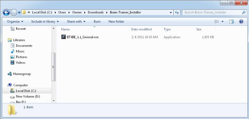 installer inside folder