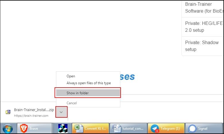 download shown in folder